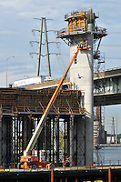 Pearl Harbor Memorial Bridge, New Haven Harbor Crossing Corridor. CT DOT Contract B Project No. 92-532. New Pearl Harbor Memorial Bridge. Commonly refered to as the Q Bridge. New Pylon Supports. Activity: Concrete Pours and Form Construction.