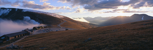 Sunset light shines on the Alpine Visitor Center at Fall River Pass, Rocky Mtn Nat'l Park, CO
