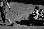 Wroclaw, Poland, April 4, 2009:<br /> Children riding a cart in Wroclaw Zoo. (Photo by Piotr Malecki / Napo Images)..Dzieci i matka w Zoo..Wroclaw, Kwiecien 2009.Fot: Piotr Malecki / Napo Images