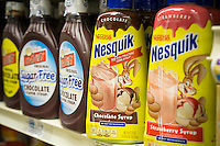Containers of Nestlé's Nesquik milk flavoring on a supermarket shelf in New York on Friday, January 27, 2017. Nestlé is reducing the amount of sugar in Nesquik in an effort to be more healthy and to boost sagging sales.  (© Richard B. Levine)
