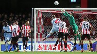 Brentford goalkeeper, David Raya makes a fine save as he punches the ball clear during Brentford vs Leeds United, Sky Bet EFL Championship Football at Griffin Park on 11th February 2020