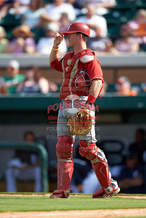 Florida Southern Moccasins catcher Kevin Fuller (14) during an exhibition game against the Detroit Tigers on February 29, 2016 at Joker Marchant Stadium in Lakeland, Florida.  Detroit defeated Florida Southern 7-2.  (Mike Janes/Four Seam Images)