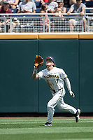 Michigan Wolverines outfielder Jesse Franklin (7) makes a catch during Game 1 of the NCAA College World Series against the Texas Tech Red Raiders on June 15, 2019 at TD Ameritrade Park in Omaha, Nebraska. Michigan defeated Texas Tech 5-3. (Andrew Woolley/Four Seam Images)
