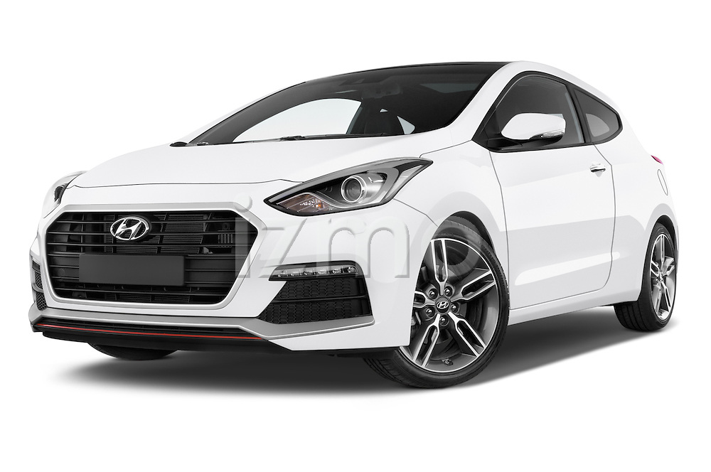 Stock pictures of low aggressive front three quarter view of 2015 Hyundai I30 Turbo 3 Door Hatchback