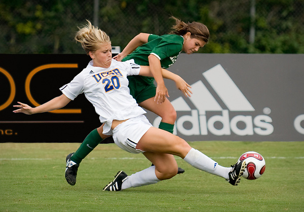 Gaucho foreward Kylie McDonald steals the ball from defender Christina Trenton during the Gauchos 2-0 victory over the Sacramento State Hornets