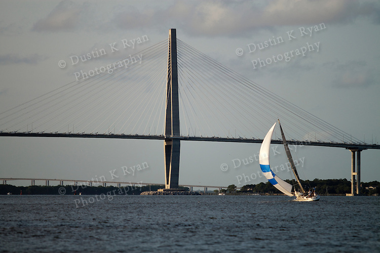 Arthur Ravenel Jr Bridge Sailboat Sailing on the Charleston Harbor with Spinnaker