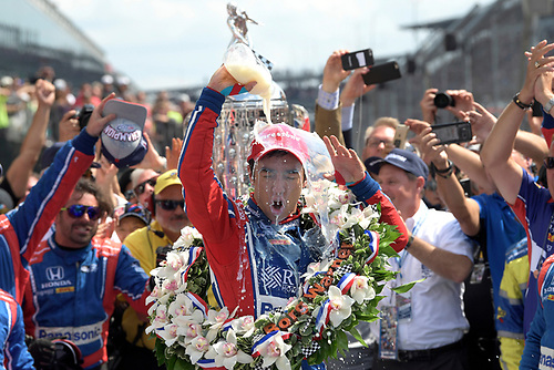 Verizon IndyCar Series<br /> Indianapolis 500 Race<br /> Indianapolis Motor Speedway, Indianapolis, IN USA<br /> Sunday 28 May 2017<br /> Takuma Sato, Andretti Autosport Honda celebrates in victory lane after winning<br /> World Copyright: Steve Swope<br /> LAT Images