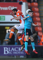 Blackpool's Colin Daniel in action with Fleetwood Town's Paddy Madden<br /> <br /> Photographer Mick Walker/CameraSport<br /> <br /> The EFL Sky Bet League One - Blackpool v Fleetwood Town - Saturday 14th April 2018 - Bloomfield Road - Blackpool<br /> <br /> World Copyright &copy; 2018 CameraSport. All rights reserved. 43 Linden Ave. Countesthorpe. Leicester. England. LE8 5PG - Tel: +44 (0) 116 277 4147 - admin@camerasport.com - www.camerasport.com