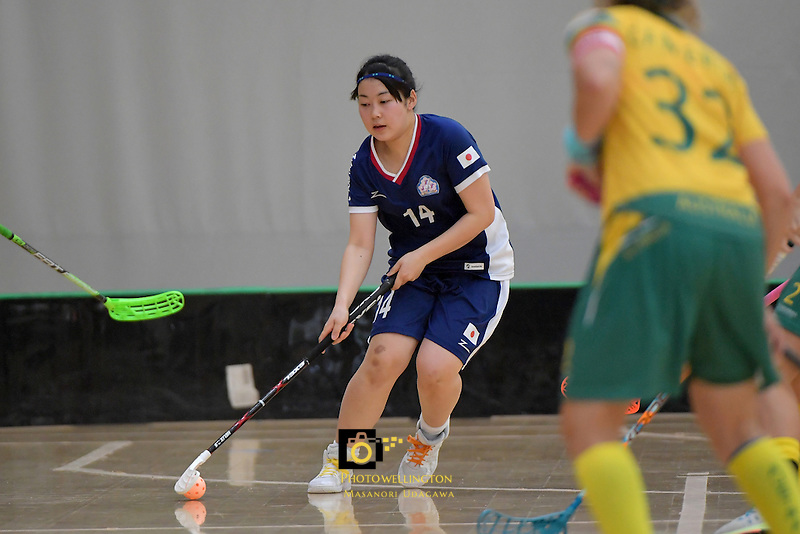 Japan's Maho Karino in action during the World Floorball Championships 2017 Qualification for Asia Oceania Region Final - Australia v Japan at ASB Sports Centre , Wellington, New Zealand on Sunday 5 February 2017.<br /> Photo by Masanori Udagawa<br /> www.photowellington.photoshelter.com.