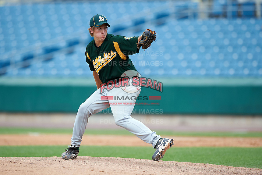 Zach Ryan #45 of Andrean High School in Valparaiso, Indiana  playing for the Oakland Athletics scout team during the East Coast Pro Showcase at Alliance Bank Stadium on August 3, 2012 in Syracuse, New York.  (Mike Janes/Four Seam Images)