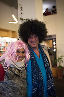 Malcolm and Gira with wigs. Our goodbye party at the Bucardon. Last days in Mexico, Bucardon, centro historico, Mexico City, Mexico