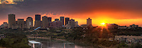 Sunset over downtown Edmonton, Alberta, Canada