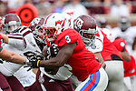 Southern Methodist Mustangs running back Kevin Pope (3) in action during the game between the Texas A&M Aggies and the SMU Mustangs at the Gerald J. Ford Stadium in Fort Worth, Texas. A&M leads SMU 38 to 3 at halftime.