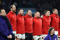 Wales players sing their national anthem. Natwest 6 Nations match between England and Wales on February 10, 2018 at Twickenham Stadium in London, England. Photo by: Patrick Khachfe / Onside Images