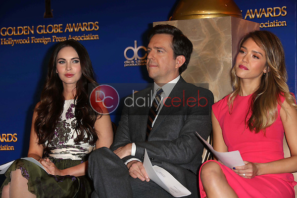 Megan Fox, Ed Helms and Jessica Alba<br /> at the 70th Annual Golden Globe Awards Nominations Announcement,  Beverly Hilton, Beverly Hills, CA 12-13-12<br /> David Edwards/DailyCeleb.com 818-249-4998