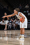 Ariel Stephenson (25) of the Wake Forest Demon Deacons calls out an assignment during first half action against the Georgia Tech Yellow Jackets at the LJVM Coliseum on January 22, 2017 in Winston-Salem, North Carolina.  The Demon Deacons defeated the Yellow Jackets 70-65 in overtime.  (Brian Westerholt/Sports On Film)