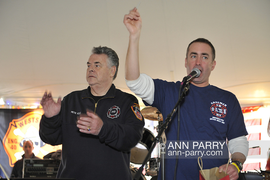 Fundraiser for firefighter Ray Pfeifer - battling cancer after months of recovery efforts at Ground Zero following 9/11 2001 Twin Towers attack - draws supporters from New York, Massachusetts and more, on Saturday, March 31, 2012, at East Meadow Firefighters Benevolent Hall, New York, USA. Attendants include Congressman Pete King