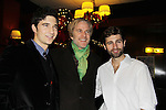 Matthew Modine (C) poses with cast members Jake Silbermann and John Buffalo Mailer attend the opening night of Dracula on January 5, 2011 at the Little Shubert Theatre, New York City, New York and after party at Sardis. (Photo by Sue Coflin/Max Photos)
