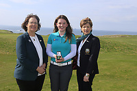 (L to R) Frances Hock Munster District ILGU Clodagh Walsh (MU) Ladies Winner and Margaret O'Shea Lady Captain Tralee GC at the final of the Irish Students Amateur Open Championship, Tralee Golf Club, Tralee, Co Kerry, Ireland. 12/04/2018.<br />