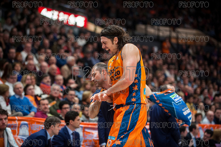 VALENCIA, SPAIN - MARCH 5: Loncar during EURO CUP match between Valencia Basket Club and Bascelona F.C. Basket at Fonteta Stadium on March 22, 2015 in Valencia, Spain