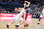 Real Madrid's Sergio Llull and FC Barcelona Lassa's Brad Oleson during Liga Endesa match between Real Madrid and FC Barcelona Lassa at Wizink Center in Madrid, Spain. March 12, 2017. (ALTERPHOTOS/BorjaB.Hojas)