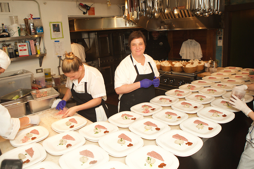 NEW YORK, NY - July 29, 2015: Erin O'Shea and the team from Philadelphia's Percy Street BBQ at the James Beard House in Greenwich Village.<br /> <br /> <br /> &copy; Clay Williams / claywilliamsphoto.com