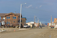 Looking down front street in Nome, Alaska.