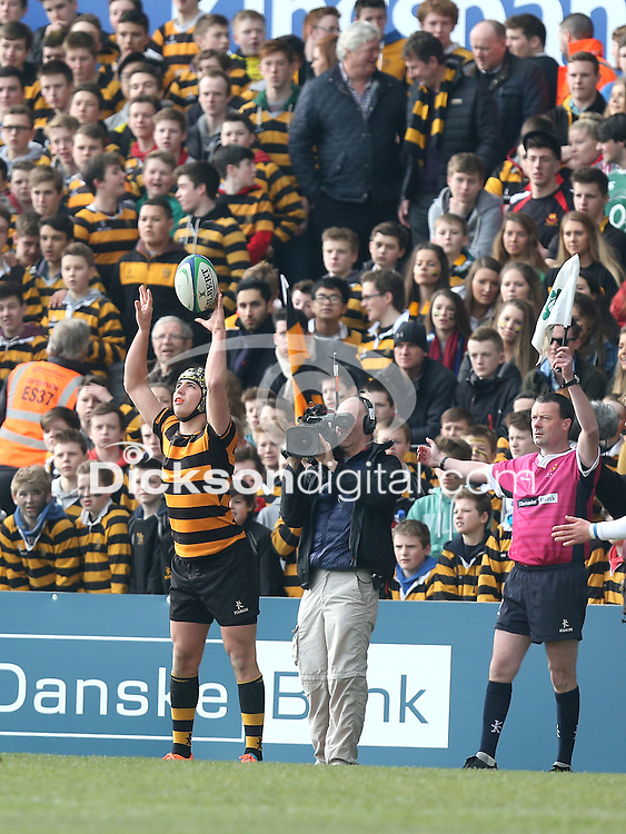 2015 ULSTER SCHOOLS CUP FINAL | Tuesday 17th March 2015<br /> <br /> Lewis McNamara throws into the lineout during the 2015 Ulster Schools Cup Final between RBAI and Wallace High School at the Kingspan Stadium, Ravenhill Park, Belfast, Count Down, Northern Ireland.<br /> <br /> Picture credit: John Dickson / DICKSONDIGITAL