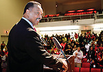 The Gazette. Rev. Jesse Jackson smiles as he receives a standing ovation from the Suitland High School student body on Thursday afternoon after he was introduced. Rev. Jackson spoke to the students about leadership among youth.