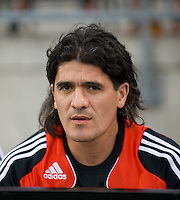 22 July 2009: Argentina's River Plate player Ariel Ortega and Argentina World Cup player sitting out during the International friendly between Toronto FC and Argentina's River Plate at BMO Field. The game ended in a 0-0 tie and River Plate won 4-3 in penalty kicks..