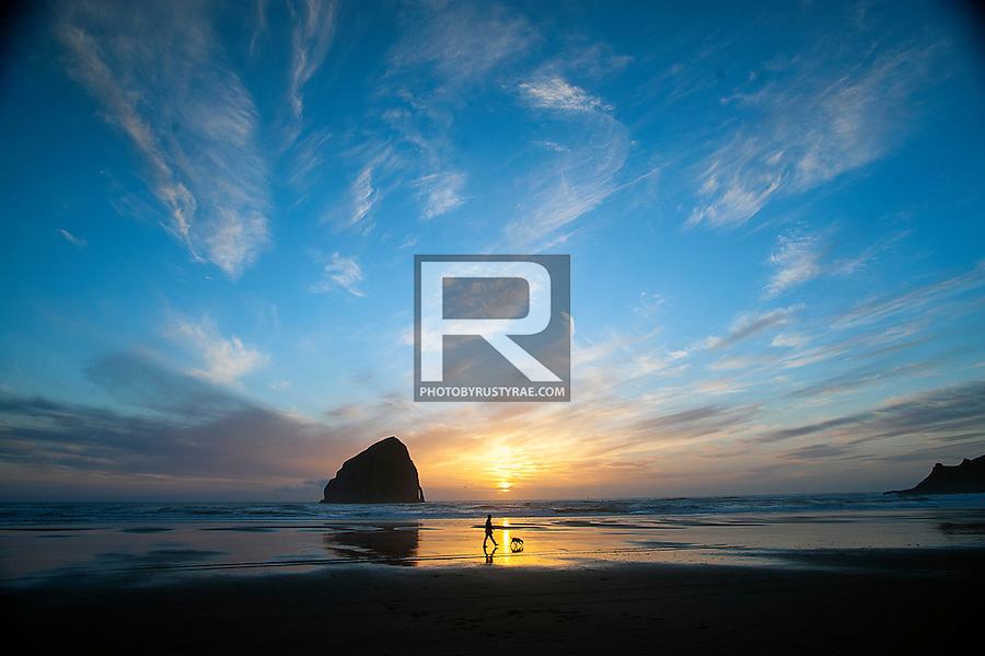 Another sunset at the beach in Pacific City with majestic Haystack Rock silhouetting the scene.
