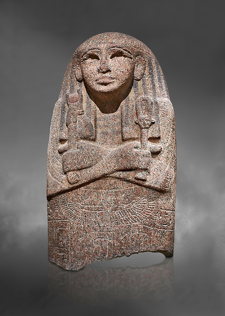 Ancient Egyptian sarcophagus lid of singer Asset, pink granite, 19th Dynasty (1279-1213 BC.) Thebes, Khokha, TT32. Egyptian Museum, Turin. Grey background.<br /> <br /> The lid of the coffin of  Singer Asset of Amon, wife of Djehutymes, depicts her wearing a wig and a broad collar. on her breast is an image of the sky goddess Nut with outstretched wings. In her right hand she hold a rattle called a sistrum, a cult implement indicating her devotion to Hathor, goddess of fertility. In her left hand she holds a standard with an image of Hathor's head depicted as a cow. The inscribed bands contain utterances by the gods of the netherworld placing the deceased under their protection