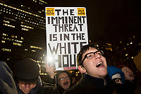 """NEW YORK, NY - January 9: Hundreds of people attend a demonstration called """"No War With Iran"""" on January 9, 2020 in New York City. This Thursday a resolution of powers of war with the objective of limiting the military actions of President Donald Trumps against Iran, was admitted by the Chamber. (Photo by Pablo Monsalve / VIEWpress)"""