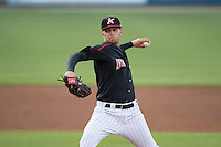 Kannapolis Intimidators starting pitcher Jordan Guerrero (23) in action against the Greenville Drive at CMC-Northeast Stadium on April 28, 2015 in Kannapolis, North Carolina.  The Intimidators defeated the drive 3-2.  (Brian Westerholt/Four Seam Images)