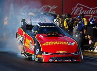 Feb 25, 2018; Chandler, AZ, USA; NHRA funny car driver Courtney Force during the Arizona Nationals at Wild Horse Pass Motorsports Park. Mandatory Credit: Mark J. Rebilas-USA TODAY Sports