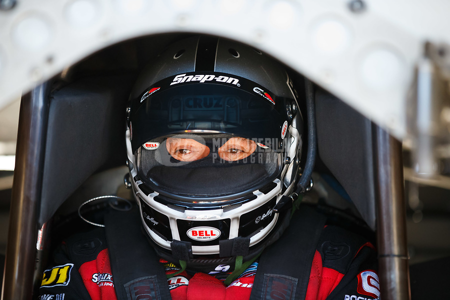 Mar 16, 2018; Gainesville, FL, USA; NHRA funny car driver Cruz Pedregon during qualifying for the Gatornationals at Gainesville Raceway. Mandatory Credit: Mark J. Rebilas-USA TODAY Sports