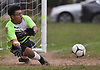 Endi Fernandez, Uniondale goalie, makes a save during a Nassau County Conference AA-1 varsity boys soccer game against Syosset at Uniondale High School on Tuesday, Oct. 2, 2018.