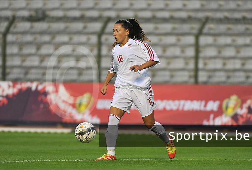 20130921 - BRUSSELS , BELGIUM : Albanian Proto Denisa  pictured during the female soccer match between Belgium and Albania , on the first matchday in group 5 of the UEFA qualifying round to the FIFA Women World Cup in Canada 2015 at the Koning Boudewijn Stadion , Brussels . Saturday 21th September 2013. PHOTO DAVID CATRY