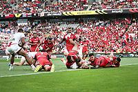 Gareth Widdop of England scores a try. 2017 Rugby League World Cup Semi Final, England v Tonga at Mt Smart Stadium, Auckland, New Zealand. 25 November 2017 © Copyright Photo: Anthony Au-Yeung / www.photosport.nz MANDATORY CREDIT/BYLINE : Andrew Cornaga/SWpix.com/PhotosportNZ