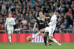 Real Madrid's Raphael Varane and AFC Ajax's Kasper Dolberg  during a UEFA Champions League match. Round of 16. Second leg. March, 5,2019. (ALTERPHOTOS/Alconada)