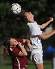 Samantha Muller #23 of North Babylon, right, makes a header as Jessica Mare #27 of Deer Park reacts during a Suffolk County varsity girls soccer game played at North Babylon High School on Wednesday, Oct. 4, 2017. North Babylon won by a score of 2-1.