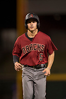 AZL Diamondbacks left fielder Alek Thomas (5) jogs off the field during an Arizona League game against the AZL Cubs 1 at Sloan Park on June 18, 2018 in Mesa, Arizona. AZL Diamondbacks defeated AZL Cubs 1 7-0. (Zachary Lucy/Four Seam Images)