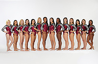Stanford, CA - September 19, 2017:  Stanford Women's Gymnastics Photo Day at Ford Center. Left to right: Catherine Rogers, Lauren Navarro, Hailee Hoffman, Nicole Hoffman, Grace Garcia, Kaylee Cole, Taylor Lawson, Aleeza Yu, Elizabeth Price, Taryn Fitzgerald, Ashley Tai, Caroline Spertus, Rachael Flam, Kyla Bryant