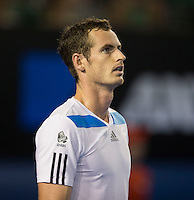 ANDY MURRAY (GBR)<br /> Tennis - Australian Open - Grand Slam -  Melbourne Park -  2014 -  Melbourne - Australia  - 16th January 2014. <br /> <br /> &copy; AMN IMAGES, 1A.12B Victoria Road, Bellevue Hill, NSW 2023, Australia<br /> Tel - +61 433 754 488<br /> <br /> mike@tennisphotonet.com<br /> www.amnimages.com<br /> <br /> International Tennis Photo Agency - AMN Images