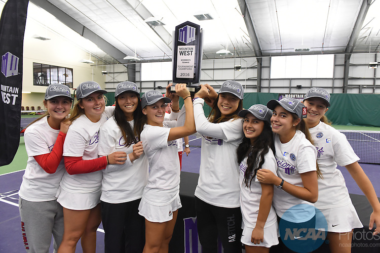 01 MAY 2016: The 2016 Mountain West Women's Tennis Championship takes place at the Fort Collins Country Club in Fort Collins, CO. Stephen Nowland/NCAA Photos