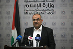 Deputy Minister of of Public Works, Naji Sarhan, speaks during a press conference in Gaza city, on September 22, 2019. Photo by Mahmoud Ajjour
