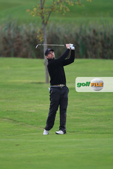 Seamus McMonagle (Dunfanaghy G.C) on the 18th during Round 2 of The Cassidy Golf 103rd Irish PGA Championship in Roganstown Golf Club on Friday 11th October 2013.<br /> Picture:  Thos Caffrey / www.golffile.ie