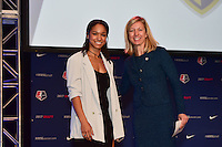 Los Angeles, CA - Thursday January 12, 2017: Darian Jenkins, Managing Director of Operations Amanda Duffy during the 2017 NWSL College Draft at JW Marriott Hotel.