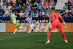 CD Leganes's Mauro Javier dos Santos and FC Barcelona's Sergi Roberto (L) and Ter Stegen (R) during La Liga match between CD Leganes and FC Barcelona at Butarque Stadium in Madrid, Spain. September 26, 2018. (ALTERPHOTOS/A. Perez Meca)