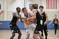 #24 Zach Baines and #20 Austin DeWitz<br /> The Occidental College men's basketball team plays against Pomona-Pitzer in the SCIAC Tournament Championship on Saturday, Feb. 23, 2019 in Claremont. Oxy lost, 68-45.<br /> Oxy finishes with its best overall record since 2007-08 at 22-5 overall, and went 12-4 in SCIAC play for the second season in a row.<br /> (Photo by Marc Campos, Occidental College Photographer)